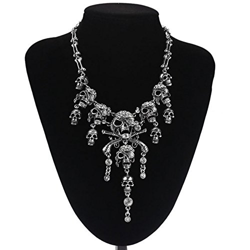 Usstore Women Punk Style Retro Pirate Skull Pendants Cluster Rhinestone Chian Necklaces Partty Gift Alloy (Silver) (Pearl Pirate Costumes)