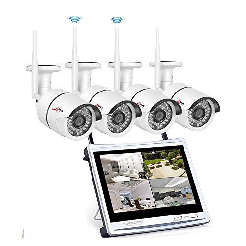 Wireless Security Camera System 960p, ANRAN 4CH 12″ WiFi LCD NVR w/ 4 x 2.0 Megapixels Home Surveillance Video Camera System Outdoor IP Network Camera, Night Vision, Free App, No Hard Drive