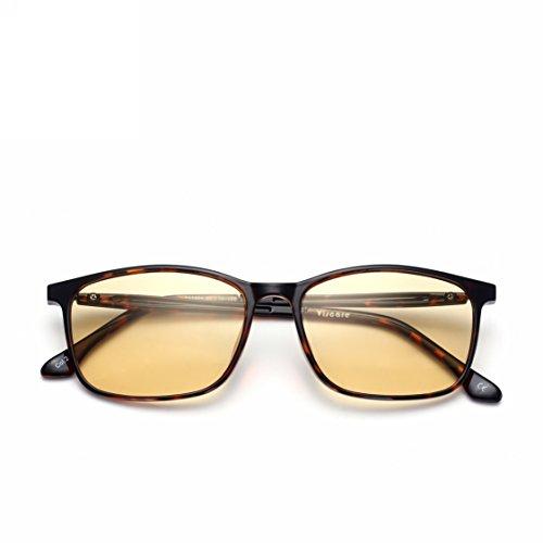 US Patent-Melanin! Viscare TR90 Optical Rx Designer Computer Gamer Glasses for Men Women, Blue Light Filter UV Blocking Digital Eye Strain Relief Anti-glare Radiaton - Rx Gunnar