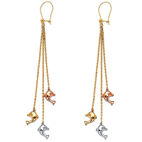 14K Tri Color Gold Fancy Dolphin Dangle Earrings (6 X 68mm)