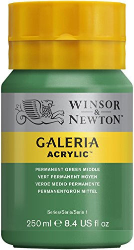Winsor & Newton Galeria Acrylic Paint, 250ml Bottle, Permanent Green Middle