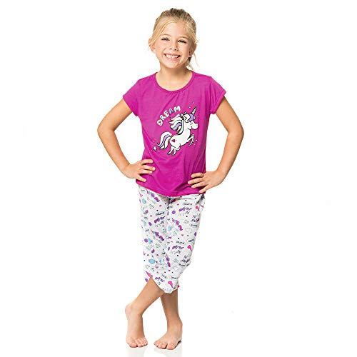 Provocame Children's Girls Pajamas Mommy and Me Sleepwear Short Sleeve and Capris Set (Fucshia Unicorn-Girl 8T (Age 6-7) ()