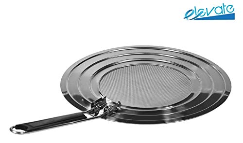 Splatter Screen Grease Splatter Guard with Heavy-Duty Folding Handle - Stainless Steel Screen Cover - Fits Most Frying Pans & Other Cooking Pots & Pans - Stronger Handle Than Other Pan Covers by Elevate