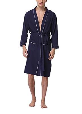 FADSHOW Men's Lightweight Cotton Robes,Kimono Waffle Bathrobe Unisex Mens/Womens Robes