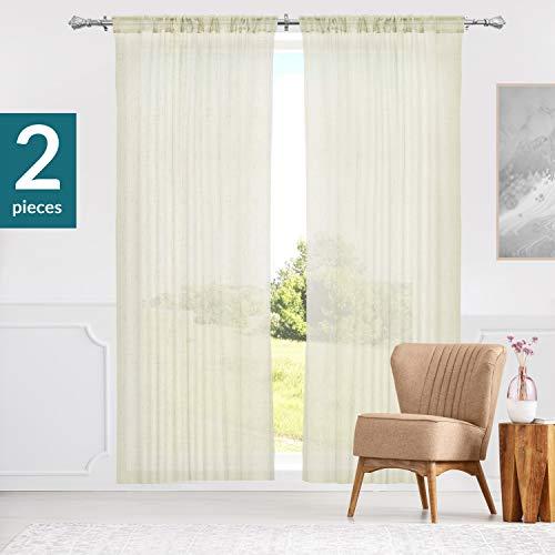 "CTPAC5284 Curtain Panels Rod Pocket Top Window Drapes, 52""W X 84""H, Adorn Cream (Sheer)"