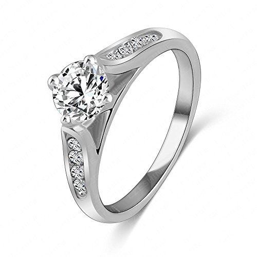 - LuckyWeng New Exquisite Fashion Jewelry Platinum Austrian Crystal Diamond Zircon Ring