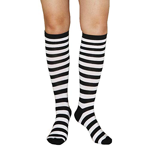 (Unisex Knee High Socks Womens Girls Striped Over Calve Athletic Soccer Tube Cool Fun Party Cosplay Socks, White+Black,One Size)