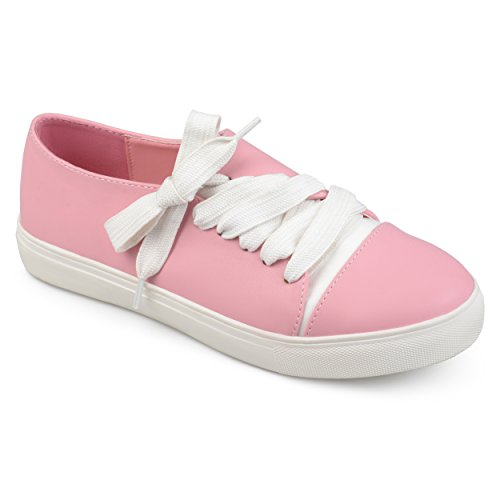 Journee Collection Womens Vegan Leather Diagonal Lace-up Sneakers Pink S4Qrfp