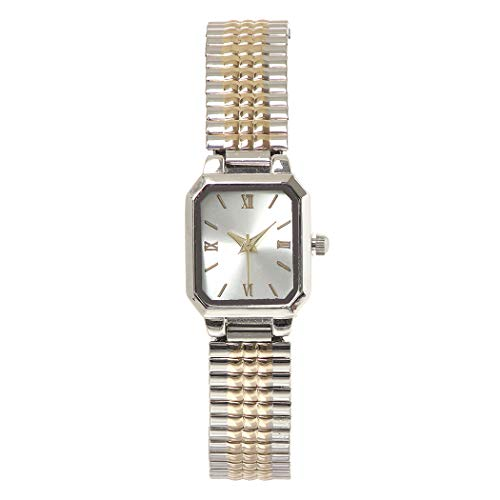 Rosemarie Collections Women's Square Face Two Tone Stretch Band Watch