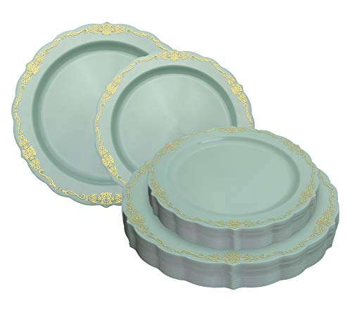 - 80 Pcs Robin Blue & Gold Plastic Party Plates Set - 40 Large 10.25 in Dinner Plates - 40 Small 7.5 in. Salad/Dessert Plates - Heavy Duty Disposable China - Fancy Caterers Victorian Design - Bpa Free