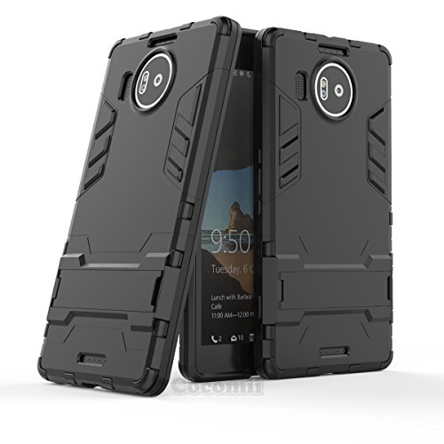 Microsoft Lumia 950 XL Case, Cocomii Iron Man Armor New [Heavy Duty] Premium Tactical Grip Kickstand Shockproof Hard Bumper [Military Defender] Full Body Dual Layer Rugged Cover (I.Jet Black)