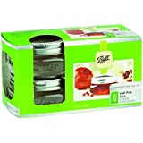 Ball 1440061162 Collection Elite Brushed Silver Design Wide Mouth Jars 8 Oz with Lid and Bands, 4-Count