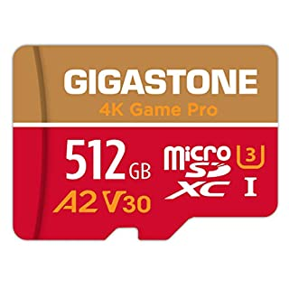 Gigastone 512GB Micro SD Card, A2 V30 UHS-I U3 Memory Card, Game Pro Series Nintendo Switch Compatible, Run App for Smartphone, UHD 4K Video Recording, 4K Gaming, Read/Write 100/80 MB/s