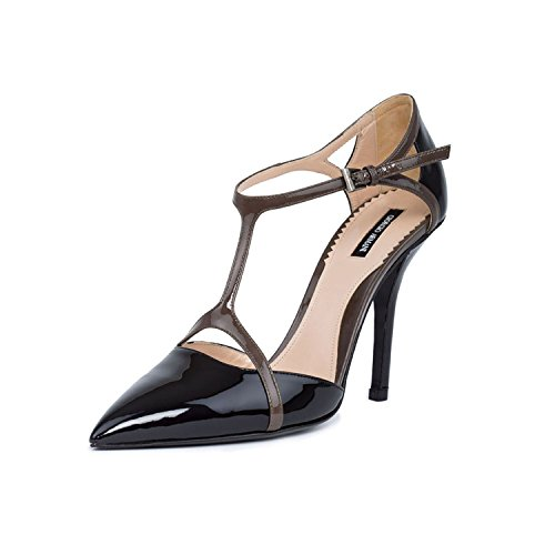 GIORGIO ARMANI Women Black Patent Leather Pointed Toe T-Strap Pumps Shoes US 10 EU ()