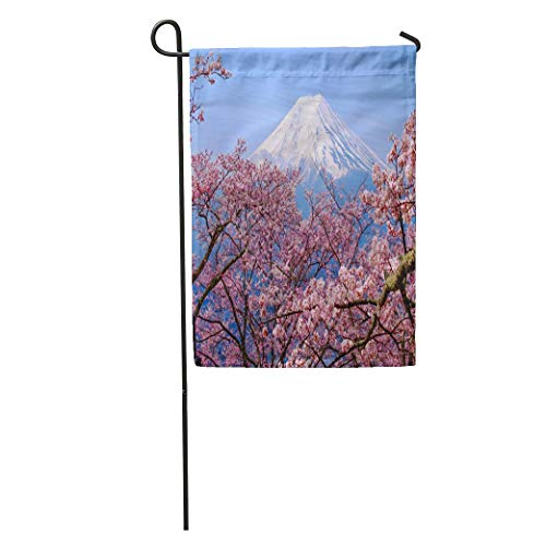 YhouqukehTshirt Garden Flag Mt Fuji and Cherry Blossom in Japan Spring Season Japanese Home Yard House Decor Barnner Outdoor Stand 12x18 Inches Flag