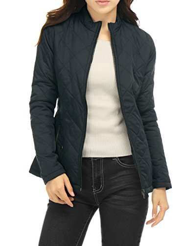 Allegra K Women Long Sleeves Zippered Pockets Padded Quilted Jacket Blue M