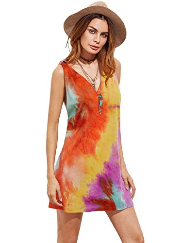 Romwe Women's Sleeveless V Neck Tie Dye Tunic Tops Casual Swing Tee Shirt Dress Multicolored M