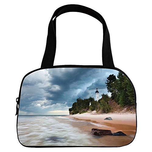Vogue Small Handbag Pink,Lighthouse Decor,Au Sable Lighthouse in Pictured Rock National Lakeshore Michigan USA,for Girls,Diversified Design.6.3