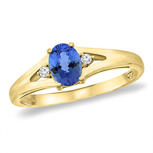 14K Yellow Gold Diamond Natural Tanzanite Engagement Ring Oval 6x4 mm, size 8.5 ()