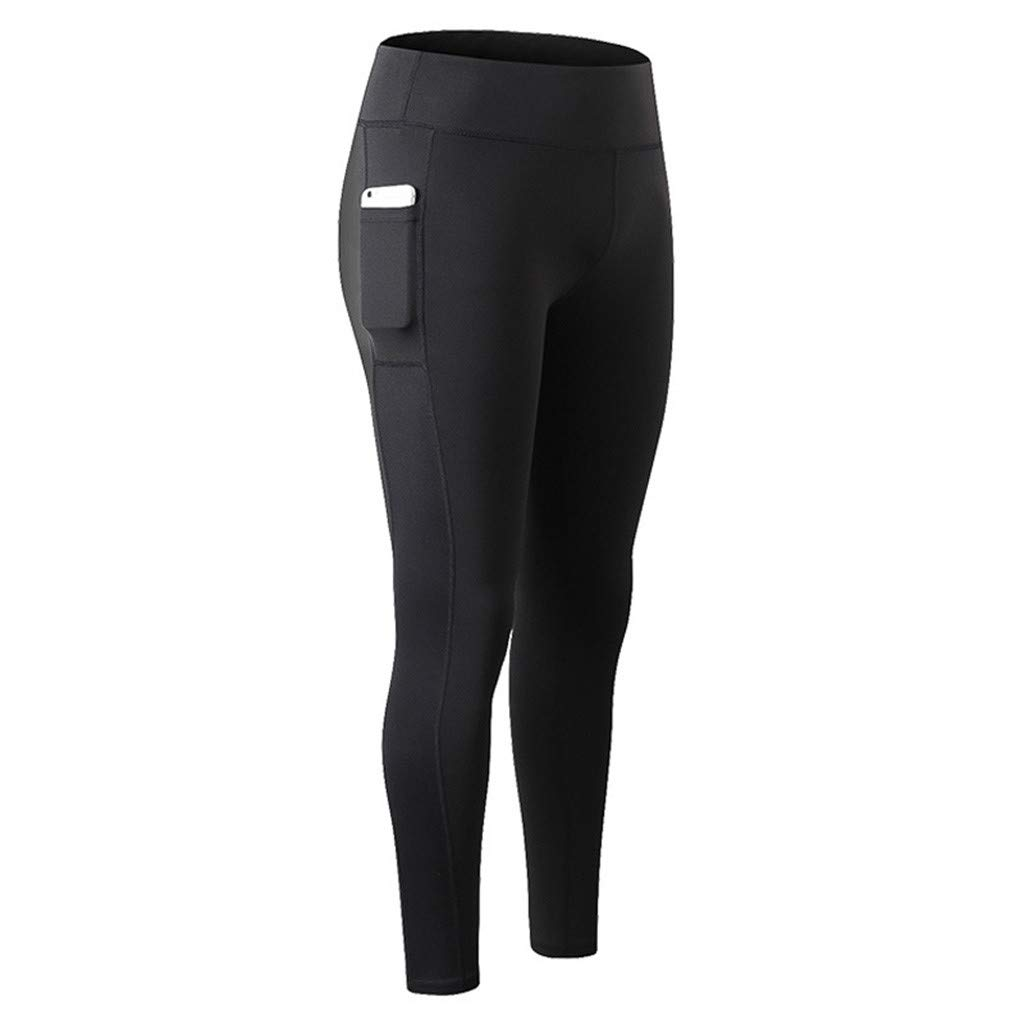 Women High Compression Yoga Pants Out Pocket Running Pants High Waist Legging Black