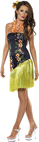 Blue Hawaiian Dress Costume - Smiffy's Women's Luscious Luau Costume, Dress with Lei Neckpiece, Hawaiian Luau, Serious Fun, Size 10-12, 34148