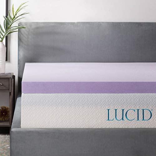 Lucid 3 Inch Lavender Infused Memory Foam Mattress Topper Ventilated Design King Size