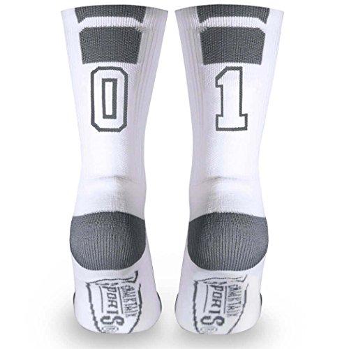 Basketball Team Socks (Custom Team Number Crew Socks | Athletic Socks by ChalkTalkSPORTS | White | 01)
