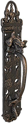 Design Toscano The Durley House Dragon Gothic Decor Door Handle Push Plate, 12 Inch, Bronze Finish