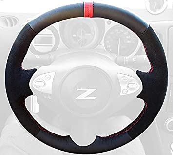 amazon com redlinegoods steering wheel cover compatible with nissan 370z 2009 20 black leather red thread automotive redlinegoods steering wheel cover compatible with nissan 370z 2009 20 black leather red thread