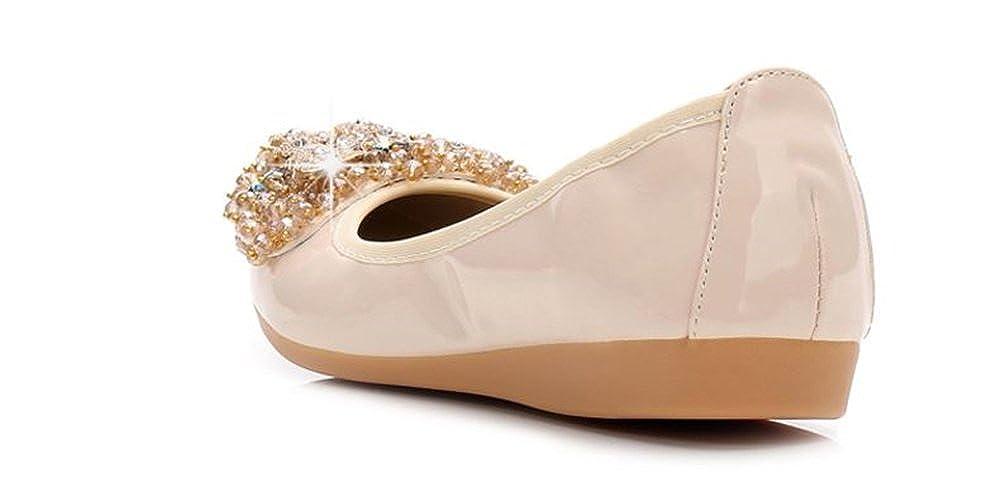 FLourishing Womens Foldable Soft Pointed Toe Ballet Flats Rhinestone Comfort Slip on Flat Shoes