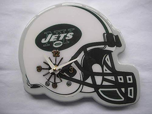 MISC NFL New York Jets Wall Clock Helmet Shaped Football Clock Sports Design Unique Decorative Home Decor Team Logo Printed Athletic Games Fans Gift Birthday Housewarming, Resin Plastic