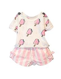 Little Love Little Girls' Clothing Sets Short Sleeved Tops Stripe Bow Short Sets
