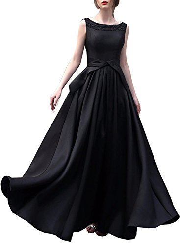 Azbro Women's Elegant Sleeveless Backless Prom Wedding Dress, Black S