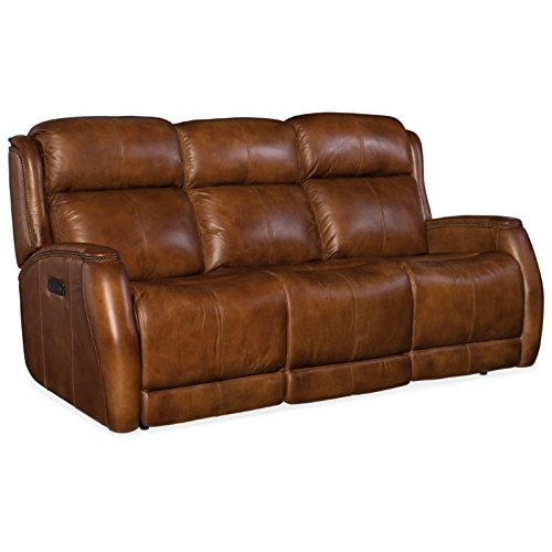 Hooker Furniture Emerson Leather Power Reclining Sofa in Checkmate