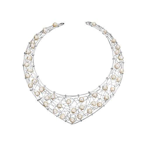 Canyon - Collier torque - Argent 925 - Perle - Perle d'imitation - 15 cm - C9939