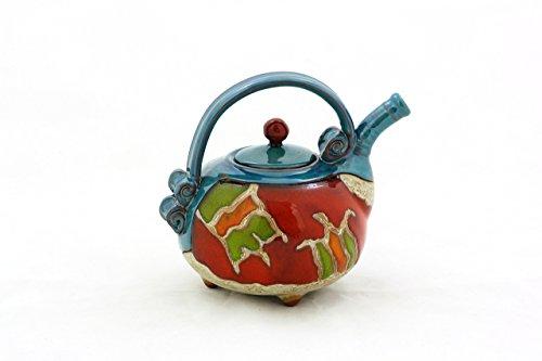 Ceramic teapot 20oz, One man teapot, Pottery handmade teapot, Small earthenware teapot, Art pottery teapot, Unique quirky teapot, Coffee pot by TriUshi Ceramics