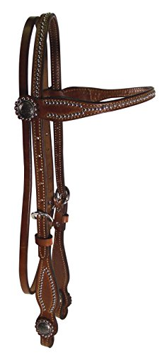 - Hamilton Deluxe Headstall with Studded Browband and Conchos, 5/8-Inch, Brown