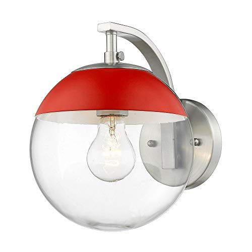 Golden Lighting 3219-1W PW-RED One Light Wall Sconce, Slvr