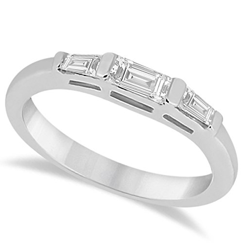 (Three Diamond Wedding Ring platinum Band with 2 Tapered and 1 Straight Baguette 0.40cw)