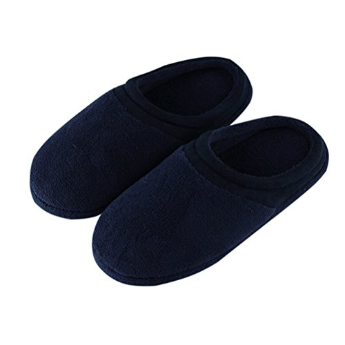 YUTIANHOME Men's Slippers Knitted Cotton Washable Soft Warm Non-Slip Flat Closed Toe Indoor Home Bedroom Shoes Dark Blue
