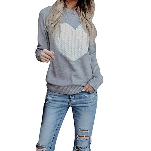 Chandail Femme Automne Chic, Koly Manteau en Tricot col Rond Simple Pull Sweater Femme Haut Femme Grande Taille Pullover Manche Longue Top Coeur Imprimer v