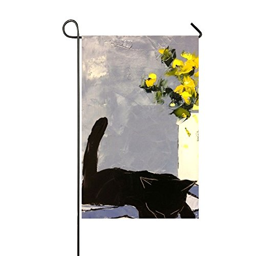 Sleeping Black Cat Painting Yard Flag With Funny Weatherproof Garden Flag For Lawn,Outdoor Decoration Double Side