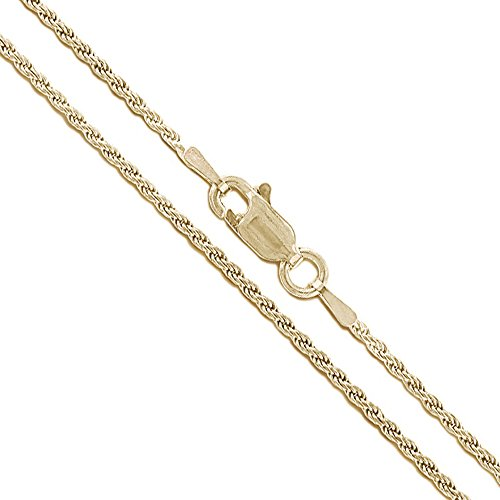 10k Yellow Gold Solid Round Rope Link Chain 1.1mm Necklace - 10k Chain Gold Solid