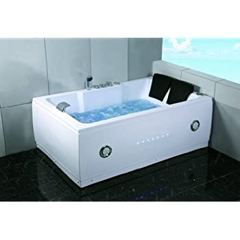 Merveilleux 2 Two Person Indoor Whirlpool Massage Hydrotherapy White Bathtub Tub With  BLUETOOTH, FREE Remote Control And Inline Water Heater