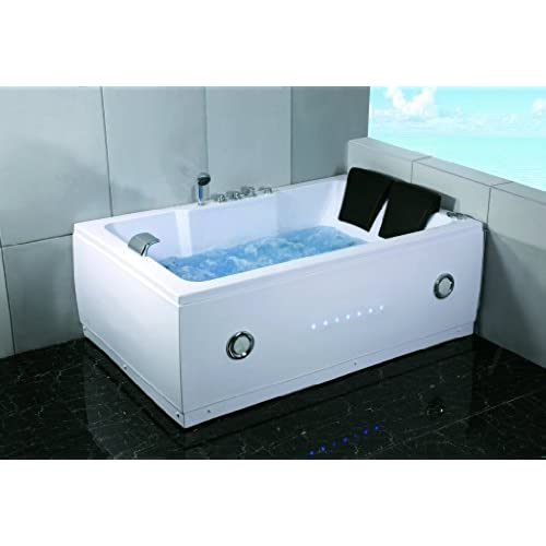 Charmant 2 Two Person Indoor Whirlpool Massage Hydrotherapy White Bathtub Tub With  BLUETOOTH, FREE Remote Control And Inline Water Heater