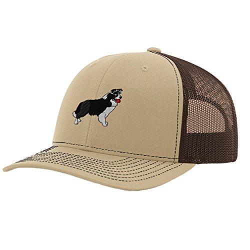 Speedy Pros Border Collie Dog #1 Embroidery Richardson Structured Front Mesh Back Cap Khaki/Coffee
