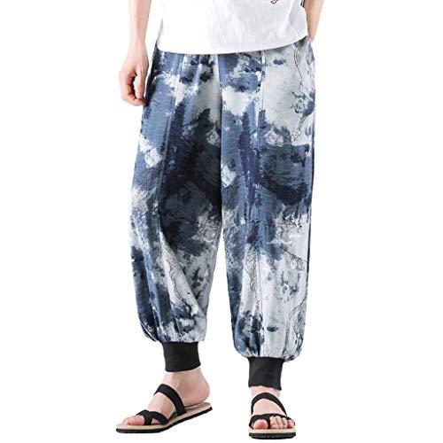 Mens Summer Fashion Leisure Ethnic Style Linen Loose Ankle-Length Lantern Pants Blue
