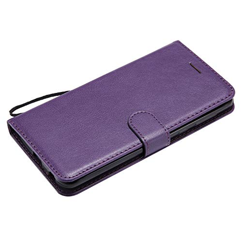 Moto G6 Plus Case, AIIYG DS Classic Pure Color [Kickstand Feature] Flip Folio Leather Wallet Case with ID and Credit Card Pockets for Moto G6 Plus Purple by AIIYG DS (Image #3)