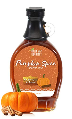 (Green Jay Gourmet Pumpkin Spice Syrup - Premium Breakfast Syrup with Pumpkin, Spices & Lemon Juice - All-Natural, Non-GMO Pancake Syrup, Waffle Syrup & Dessert Syrup - 8 Ounces)