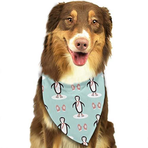 (Ice Skating Penguins and Pink Mittens Pattern Stylish Dog Bandana Bibs Scarfs Pet Scarfs Cats Dog Scarf)